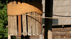 Rope wrapped on a wooden column in Sibiu Stock Footage