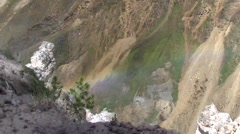 Rainbow In Yellowstone National Park Canyon.mp4 Stock Footage