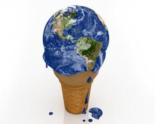 Climate Change - Ice Cream Earth v2 - stock illustration