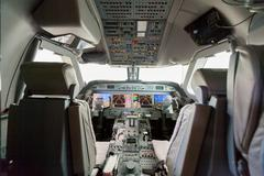 Inside view Cockpit Airplane Aircraft - stock photo