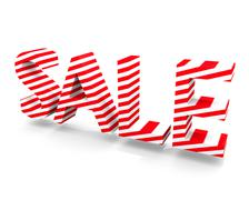 SALE 3D Text - Candy Striped - stock illustration