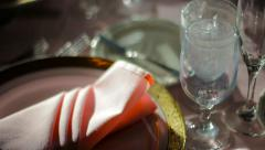 Set Banquet Table With Pink Napkin Stock Footage