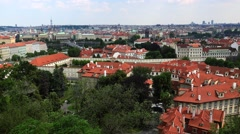 Prague. Old Prague. Top view. Architecture, old houses, streets and Stock Footage