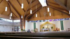 Interior Catholic Church Wide Shot - stock footage