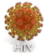 HIV Virus With Text - stock illustration