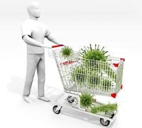 Shopping Cart Full Of Germs - stock illustration