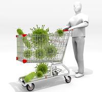 Shopping Cart Full Of Germs Stock Illustration