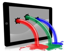 Digital Tablet With LCD Screen Spurting RGB - stock illustration