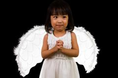 Asian Chinese Little Angel - stock photo