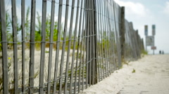 Path To Beach Fence Rack Focus Stock Footage
