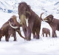 Wooly Mammoth Ice Age Scene - stock illustration
