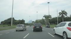 Driving Through Rio de Janeiro. Brazil. Copacabana. Uber. Yellow taxi Stock Footage