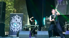 Aeons Confer performs at Metaldays Festival Stock Footage