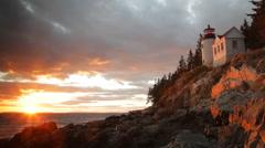 Bass Harbor Light at sunset Stock Footage