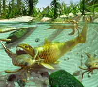 Devonian Lake Cycle Of Life - stock illustration
