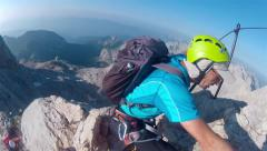 Mountaineer pov to expedition climbing - stock footage