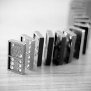 Black domino black and white color tone style Stock Photos