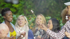 4K Happy group of friends at outdoor bbq toasting and eating marshmallows Stock Footage