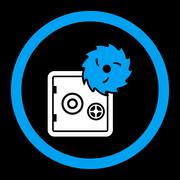 Hacking theft flat blue and white colors rounded vector icon Stock Illustration