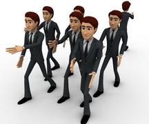 Stock Illustration of 3d man going on own way concept