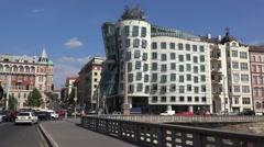Dancing House on the Rasin Embankment from the Jirasek Bridge. Prague Stock Footage