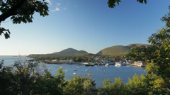 Bar Harbor, Maine, Autumn morning (wide) - stock footage