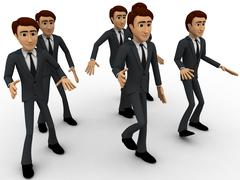 3d man walking in group concept - stock illustration