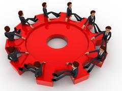 3d many men sitting on big cogwheel concept - stock illustration