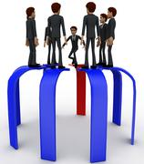 3d many men standing on arrows concept - stock illustration