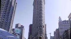 Flatiron Building Architecture, New York City , Tourist Landmark Stock Footage