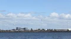 Copenhagen Tourbine windmill Industrial zone  factory on the Sea 1 Stock Footage