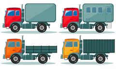 Trucks icons set. Vector of vehicles Piirros