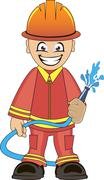 Stock Illustration of Firefighter in uniform with fire hose