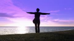 Woman dance  Sunset landscape space Sea 1 Stock Footage