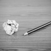 Crumpled paper and pencil black and white color tone style Stock Photos