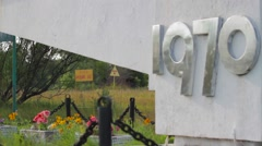 Entrance sign to the now-abandoned Ukraine city of Pripyat Stock Footage