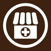 Drugstore flat white color rounded vector icon - stock illustration