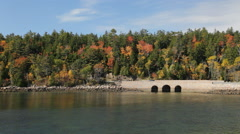 Park Loop Road bridge, Acadia National Park, Maine Stock Footage