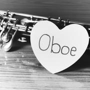 oboe on wood background black and white color tone style - stock photo