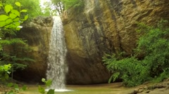 Beautiful Waterfall Falling Off Rock In Crimea Forest Stock Footage