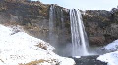 Waterfall Seljalandsfoss in Iceland Stock Footage