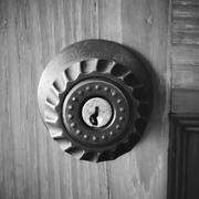door knob and key hole black and white color tone style - stock photo