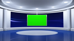Virtual Blue News Studio with Green Screen - stock footage