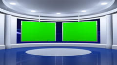 Virtual News Studio with Two Green Screens - stock footage