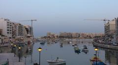 Evening at Spinola bay in Saint Julian's town, Malta Stock Footage