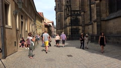 Tourists near St. Vitus Cathedral at the Prague Castle complex. Stock Footage