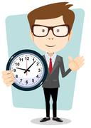 Businessman and clock , vector format Stock Illustration