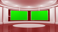 Virtual Red News Studio with Two Green Screens Stock Footage