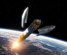 Crew Exploration Vehicle Orbiting Earth Stock Illustration