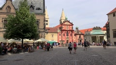 Tourists near the St. George's Basilica at the Prague Castle complex. Stock Footage